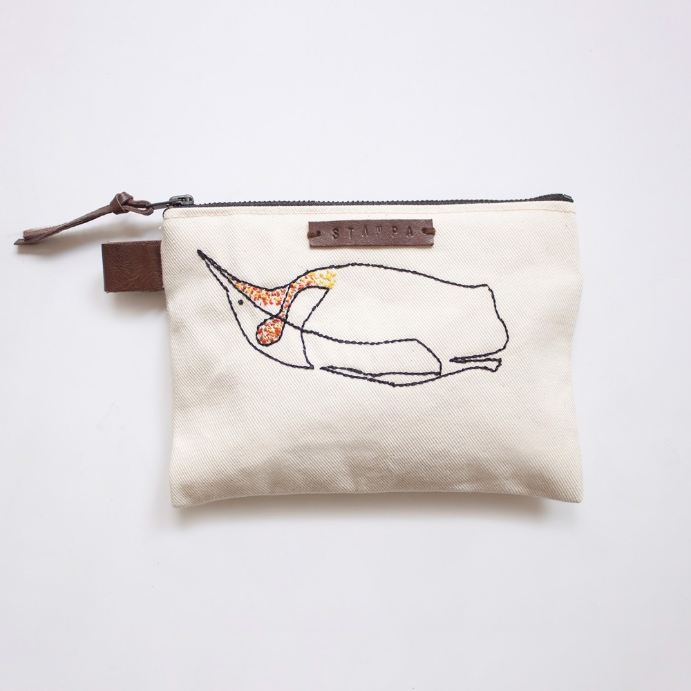 Picture of Penguin Embroidery Zipper Pouch