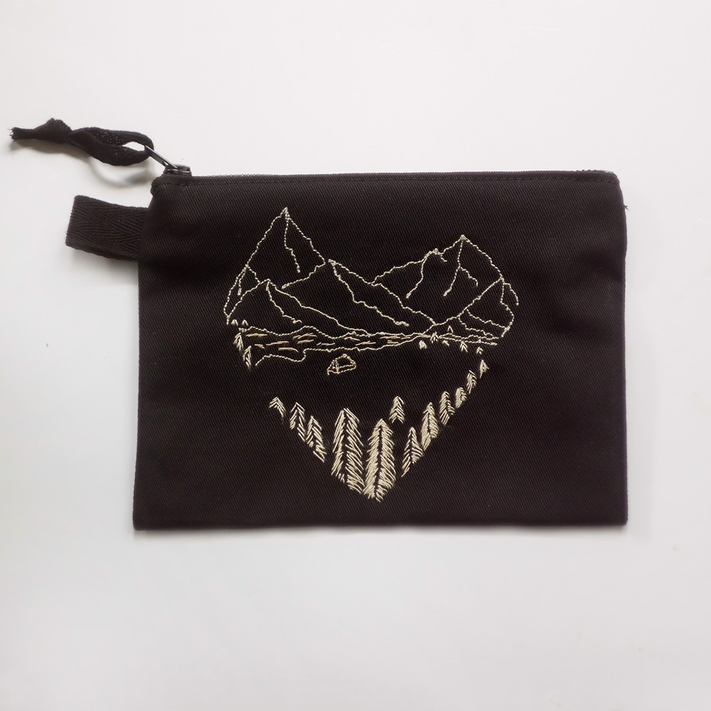 Picture of Black Landscape Zipper Vegan Pouch