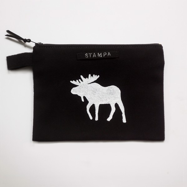 Picture of Black Moose Zipper Vegan Pouch