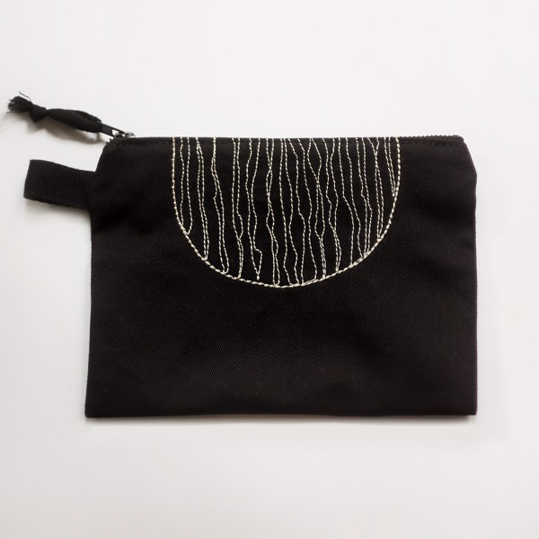 Picture of Black Semicircle Zipper Vegan Pouch