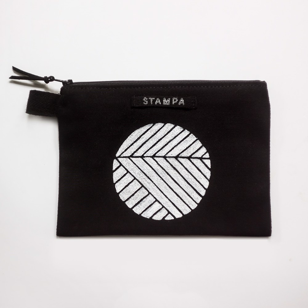 Picture of Balck Circle Zipper Vegan Pouch