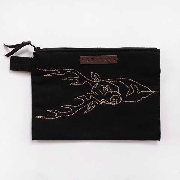 Picture of Black Embroidery Elk Zipper Pouch