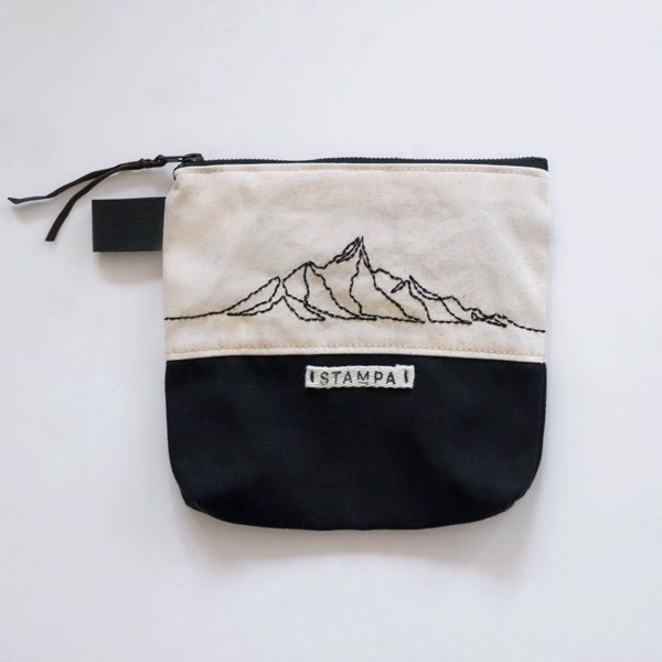 Picture of Mountain Embroidery Black and White Pouch