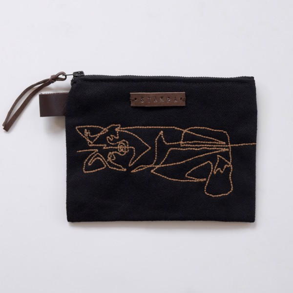 Picture of Black Embroidery Foxy Zipper Pouch